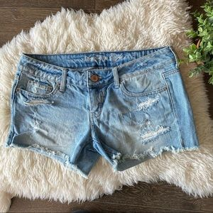 American Eagle mid rise distressed jean shorts